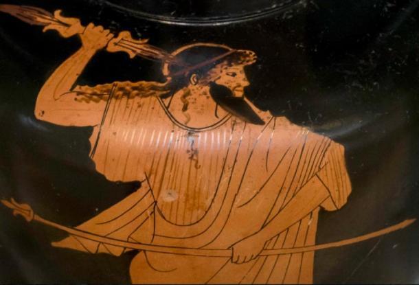En este jarrón de aproximadamente 470 a.C., Zeus sostiene su cetro de gobierno en su mano izquierda y su rayo en la derecha. (Dominio público)