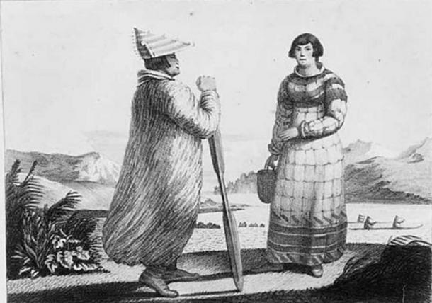 Ilustración de vestimenta masculina y femenina, islas Aleutianas, hacia 1820. (Dominio Público)