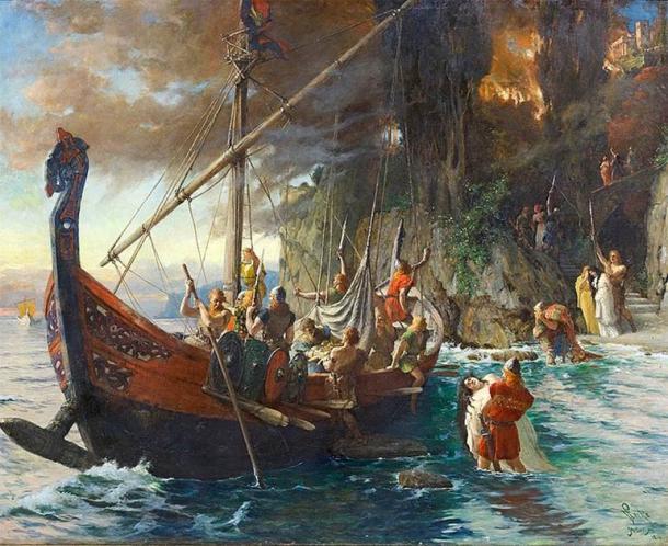 Se temía a los vikingos por sus feroces incursiones y ataques. Esta pintura de 1901 de Ferdinand Leeke los muestra con sus cascos característicos que fueron utilizados como equipo de protección personal esencial por los guerreros vikingos. (Dominio público)