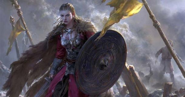 """""""Brynhildr"""". Se usa aquí como una imagen representativa de una mujer guerrera en la Era Vikinga. Fuente: FLOWERZZXU / Deviant Art"""