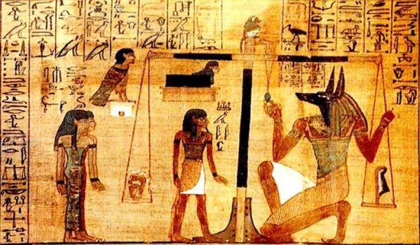 """Una viñeta en El papiro de Ani, del Hechizo 30B: """"Hechizo para no dejar que el corazón de Ani cree oposición contra él"""", en el dominio de los dioses. (FinnBjo ~ commonswiki / Dominio público)"""