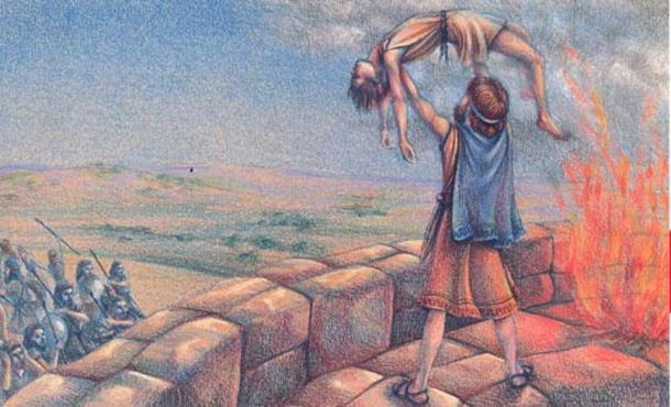 La guerra terminó con el rey Mesa ofreciendo a su propio hijo como sacrificio humano. (Phyllis Saroff)
