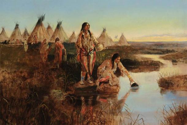 """""""Agua para el campamento"""", pintura de Charles M. Russell. (Dominio público)"""