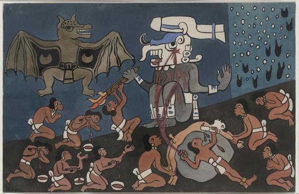 Acuarela pintada por Diego Rivera en San Francisco, California, durante el verano de 1931, originalmente encargada de ilustrar una traducción al inglés nunca publicada del Popol Vuh por John Weatherwax. Representa a los primeros humanos haciendo sacrificios al dios Tohil. inframundo. (dominio publico)