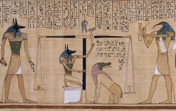 El ritual del Pesaje del Corazón, del Libro de los Muertos de Hunefer (~ 1275 a. C.), del Museo Británico. Lo último que quería el difunto era un corazón duro o pesado, ya que eso podía negarle la vida eterna. (Dominio publico)