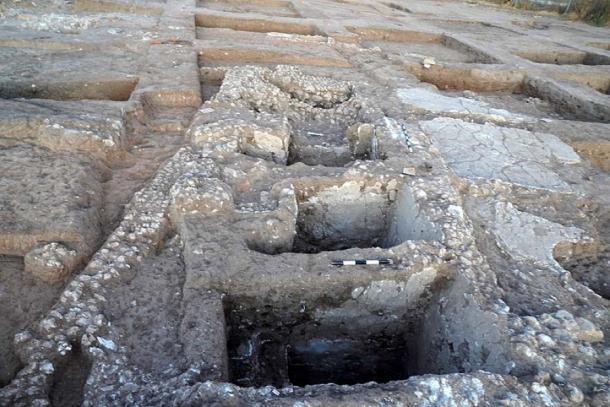 Los lagares, que se encuentran en el mismo lugar que las monedas de oro, datan del período persa. (Idan Jonish / Autoridad de Antigüedades de Israel)