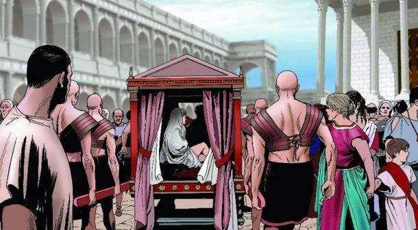 Mujer llevada en una litera por las calles de una antigua ciudad romana. ( Massimo Todaro / Adobe Stock)