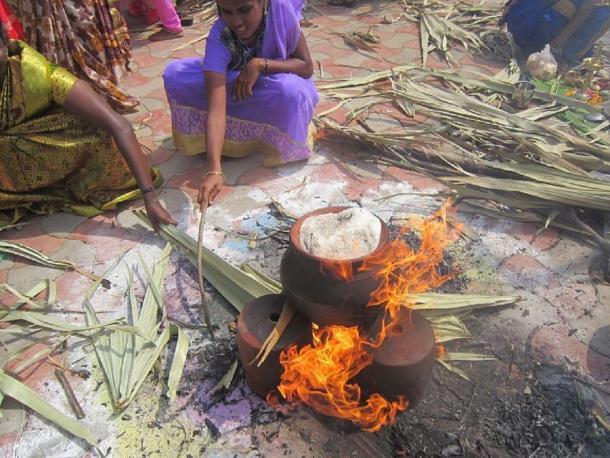 Mujeres hirviendo el arroz en una olla de barro en un festival de Pongal. (Esakkiammal stalin 96 / CC BY-SA 4.0)