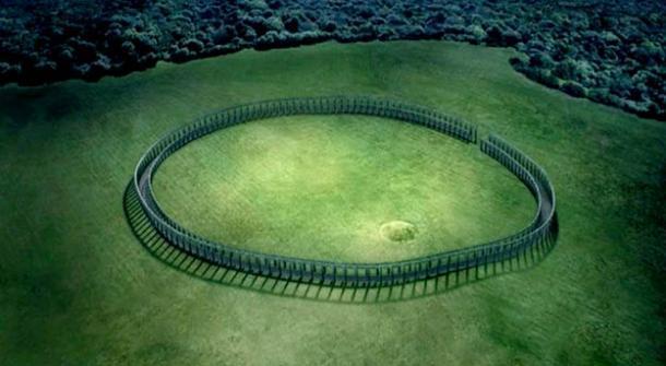 Se utilizaron gráficos digitales para mostrar cómo se habría visto el recién descubierto Woodhenge en la colina de Tara. Estos se incluyeron en la serie de 2009 'Secrets of the Stones'. (RTÉ / Voices from the Dawn)