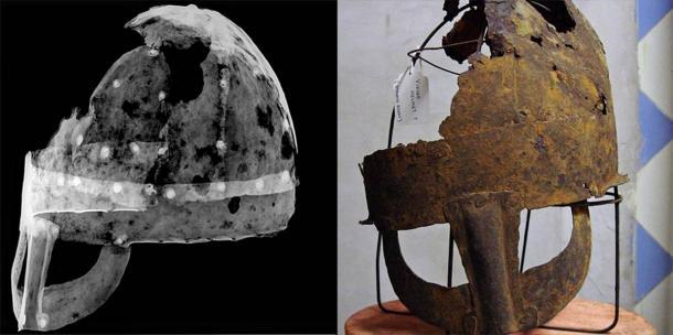 El casco Yarm ha estado en exhibición permanente en el Museo Preston Park desde 2012. Investigadores de la Universidad de Durham realizaron radiografías del casco angloescandinavo para estudiar las propiedades del metal y compararon el hallazgo con otros descubrimientos arqueológicos. (Universidad de Durham)