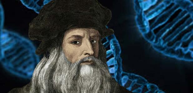 Portada - Retrato de Leonardo da Vinci. (CC BY SA) Fondo: Estructura de ADN. (Public Domain Pictures)