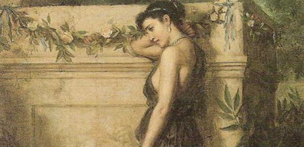 Portada - 'Gone, but not Forgotten.' (1873) óleo de John William Waterhouse. (Public Domain)