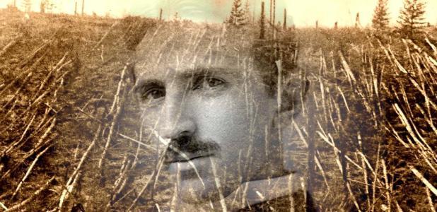 Portada - Fotocomposición, retrato de Tesla y destrucción causada por la explosión de Tunguska (Código Oculto)