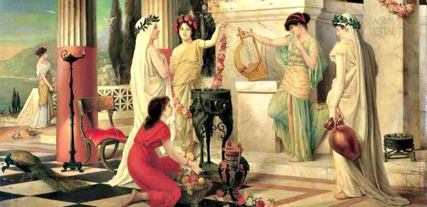 """Portada - Detalle del óleo """"En el Templo de Vesta"""" (1902), obra del pintor alemán Constantin Hölscher (1861-1921). (Public Domain)"""