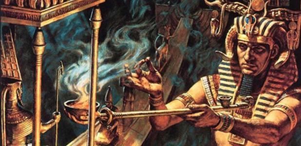 Portada - Ilustración de un faraón quemando hierbas en un ritual. Fuente: Core Spirit