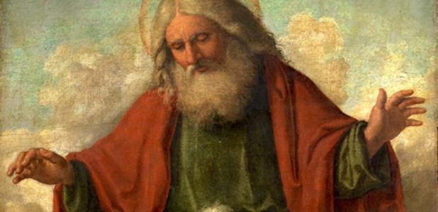 Portada - Dios Padre (representado por un anciano patriarca de barba y cabellos blancos) pintado por Cima da Conegliano en torno al 1515. (Dominio público)
