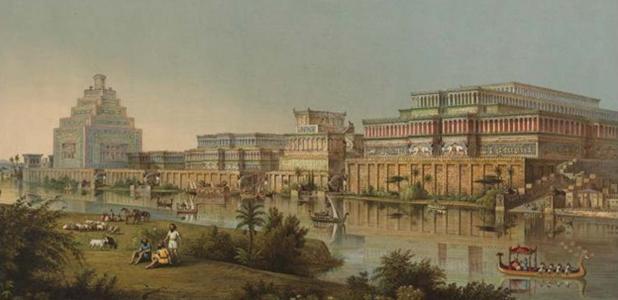 Portada - Ilustración de Nínive realizada por el arqueólogo Henry Layard. Fuente: CC BY SA 4.0