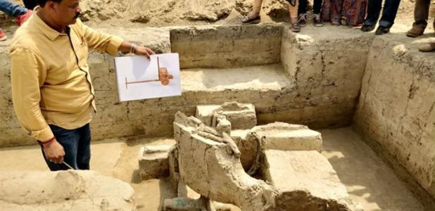 Portada - Este antiguo carro de guerra indio ha sido descubierto en Baghpat y data de la Edad del Bronce (2000 a. C. – 1800 a. C.). Fuente: The Pioneer