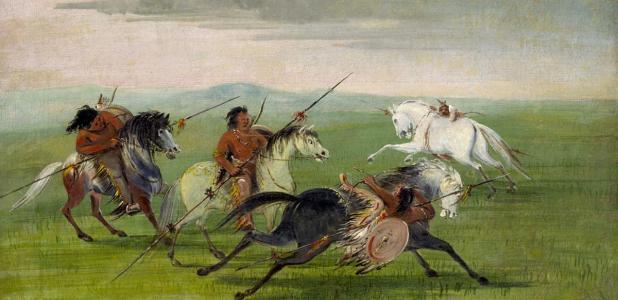 Portada - 'Destreza a caballo de los comanches' (1834-1835), pintura de George Catlin. Fuente: Dominio público
