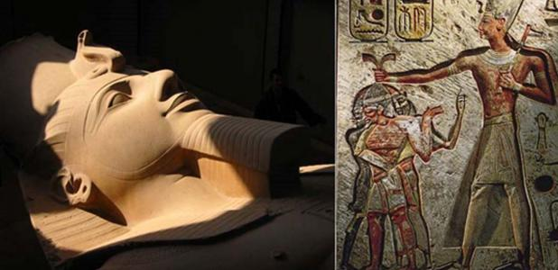 Portada - Colosal estatua de Ramsés II en Menfis (CC BY-SA 2.0). Ramsés II y sus prisioneros, relieve de Menfis (CC BY-SA 4.0).