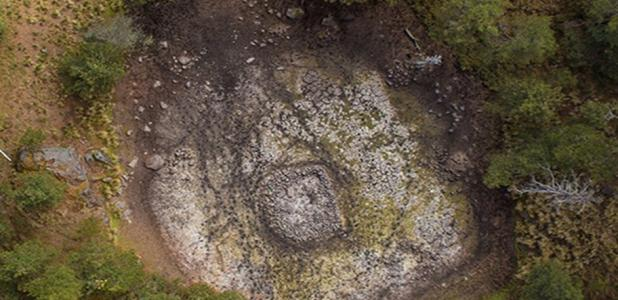 Portada - Vista aérea del lago de Nahualac, una vez seco. Imagen: Arturo Cruz, Terrasat Cartografia. (INAH)