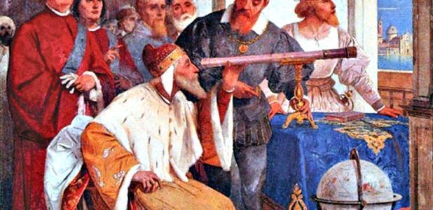Portada-Galileo enseñando al dux de Venecia el uso del telescopio. Detalle de un fresco de Giuseppe Bertini (1825–1898) (Public Domain)
