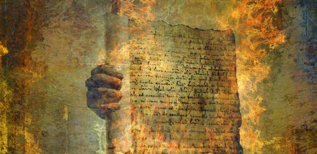 Antiguo pergamino ardiendo (Elena Ray / Adobe Stock)