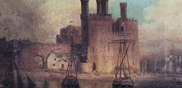 pintura al óleo del castillo de Caernarfon en 1846 por Hugh Hughes, de la Biblioteca Nacional de Gales. Fuente de la foto: dominio público.