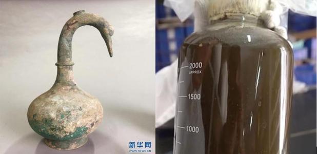 Se descubrieron cerca de 3.000 ml de líquido que contenía impurezas dentro de la olla de bronce ritual en forma de cisne en la tumba china. Fuente: Sanmenxia Archaeology