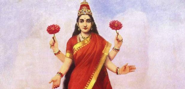 La diosa hindú Lakshmi, mostrando sus cuatro brazos. (Raja Ravi Varma / Dominio público)