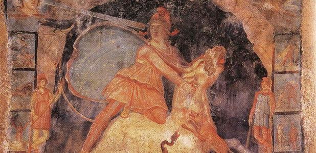 Mitra y el toro, fresco del templo de Mitra, Marino, Italia, del siglo II d.C