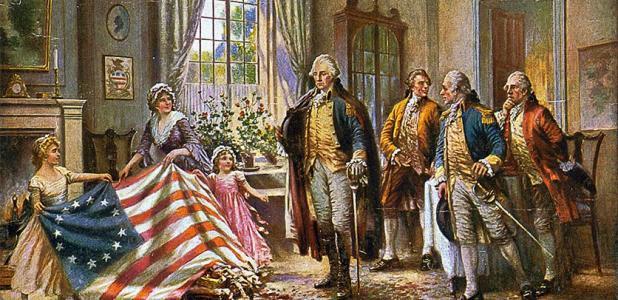 """Una representación típica de las mujeres en la sociedad estadounidense después de la Revolución: Betsy Ross y dos niños presentando la """"bandera de Betsy Ross"""" a George Washington y otros tres hombres."""
