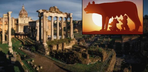 Principal: Foro Romano (Ivan Kurmyshov /Adobe Stock). Recuadro: Estatua de Rómulo y Remo en Roma (pict rider / Adobe Stock)