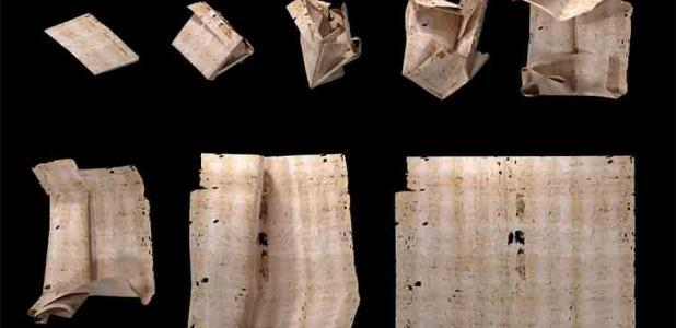 Secuencia de despliegue generada por computadora de la carta sellada DB-1538. Un nuevo artículo describe cómo se utilizó el despliegue virtual para leer el contenido de los sobres sellados de la Europa del siglo XVII sin abrirlos físicamente.