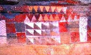 Aspecto de algunas de las pintaderas plasmadas sobre la pared de la Cueva Pintada de Gáldar. (Wikimedia Commons)