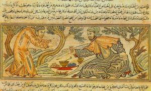 'Buda ofrece fruta al diablo del siglo 14 manuscrito Persa 'El Jāmiʿ al-tawārīkh' (Compendio de Crónicas).