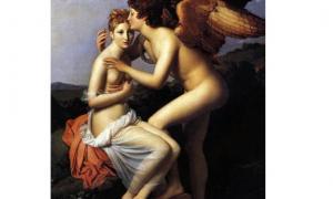 Psyché et l'Amour (Cupido y Psique), también conocido como Psique recibiendo el primer beso de Cupido (1798), óleo sobre el lienzo, por François Gérard