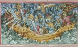 Extracto del folio 47v de Harley MS 2278. La escena nos muestra a Hinguar y Hubba partiendo para vengar a su padre, Lothbrok.jpg
