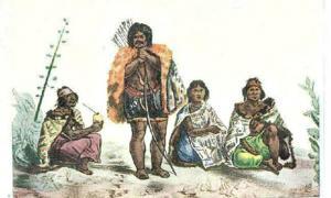 Ilustración de Los últimos Charrúas (1833), Delaunois (Wikimedia Commons)