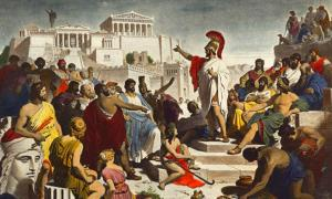 Pintura del siglo XIX que representa al político ateniense Pericles pronunciando su famoso discurso fúnebre frente a la Asamblea.
