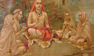 Portada - Devoto hindú practicando jñana yoga uno de los métodos que se cree que ayudan a alcanzar mukti (Wikimedia Commons)