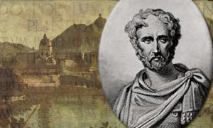 Portada - Retrato de Plinio el Viejo-Paisaje de Como (Italia) e inscripción(Public Domain)
