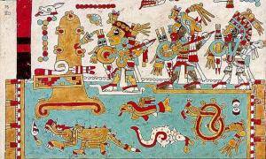 Portada - página 75 del Códice Mixteco Zouche-Nuttall tres guerreros en el fragor de una batalla se acercan, sobre balsas, a un palacio sobre una colina.png
