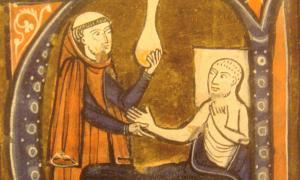 Portada: Ilustración de un monje atendiendo a un paciente enfermo. (Wikimedia Commons)