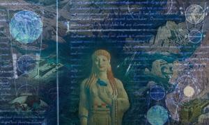 Portada - Terror Antiquus, óleo de L.Bakst (1908) (Public Domain). Superpuestas, imágenes de un manuscrito medieval traducido al latín del diálogo de Platón 'Timeo.' (Public Domain).