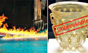 """Portada - Fotocomposición. Izquierda, el temible """"fuego griego"""". Derecha, el misterioso """"vidrio flexible"""" romano. (Fotomontaje: La Gran Época)"""
