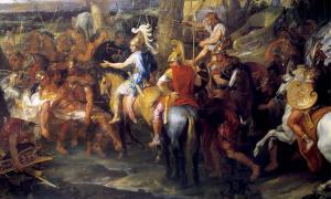 Portada - Pintura de Charles Le Brun en la que Alejandro y Hefestión (con capa roja), se enfrentan a Porus en la batalla de Hydaspes. (Public Domain)