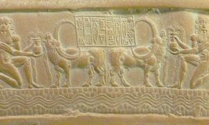 Portada - Sello cilíndrico de Ibni-Sharrum. Héroes al servicio de Ea abrevando a sus búfalos. Museo del Louvre, París. (CC BY 3.0)