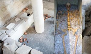 Portada - Principal: Tumba de atletas, Tarento (Fotografía: TarantoSotteranea). Detalle: Restos óseos de un antiguo atleta hallados en Tarento (repubblica.it)