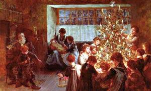 """Portada-Detalle del óleo""""El árbol de Navidad"""" (1911), obra de Albert Chevallier Tayler. (Public Domain)"""